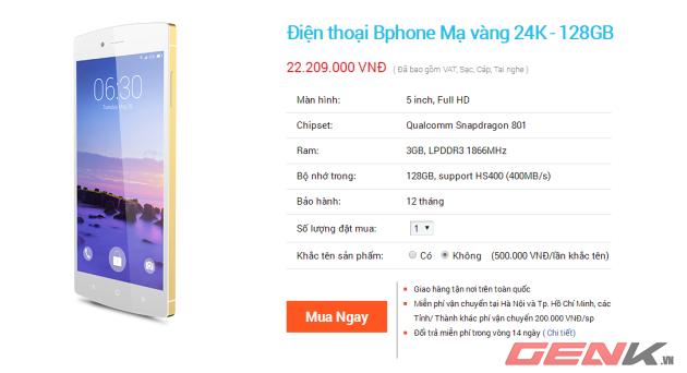 Thử đặt hàng với phiên bản Bphone mạ vàng 24K