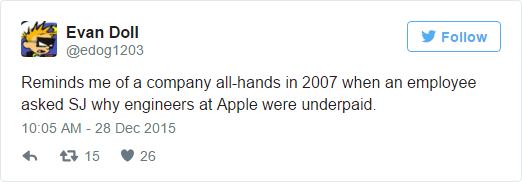 Làm tôi nhớ đến lúc còn làm ở công ty vào năm 2007, một nhân viên đã hỏi SJ (Steve Jobs) tại sao kỹ sư của Apple bị trả lương quá thấp như vậy.