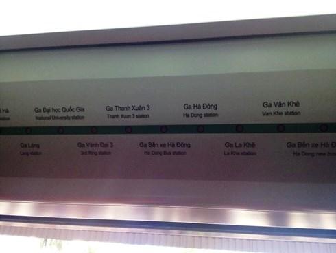 hệ thống ga được hiển thị trên hướng dẫn trong khoang tàu