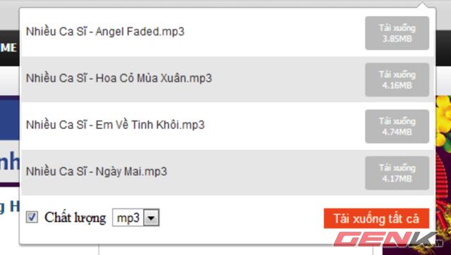 Bchrome bắt link tốt với các trang nghe nhạc trong nước, chưa bắt được link YouTube.