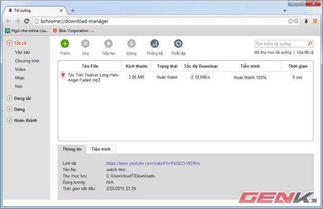 Giao diện quản lý download.