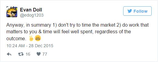 Dù sao, rút ra được hai điều. 1) đừng phí thời gian trên thị trường chứng khoán. 2) hãy làm hết sức vì bản thân, bất kể thu nhập thế nào và bạn sẽ không phải hối tiếc về thời gian bỏ ra.
