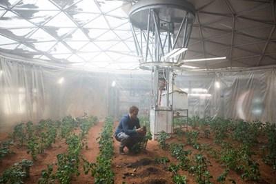 Mark tìm cách tạo ra hệ thống thủy lợi để trồng khoai tây. Nguồn: Phim The Martian.