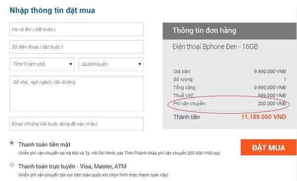 Bphone thời gian đầu được phân phối trên 2 trang Vala.vn và Bkav.com. Bên cạnh đó, nhiều khách hàng phàn nàn về phí ship quá đắt, lên tới 200.000 đồng nếu thanh toán bằng tiền mặt. Ảnh: ICTNews.