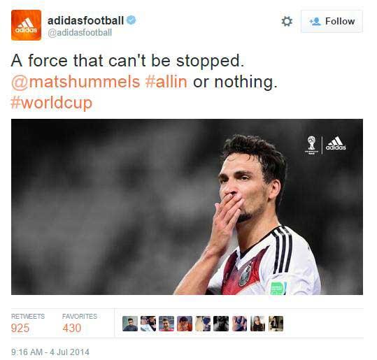 Mạng xã hội của Adidas trong mùa World Cup