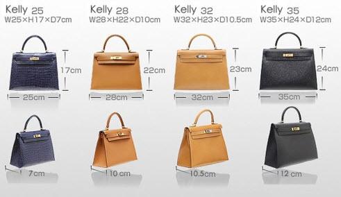 Những chiếc túi Kelly với đủ các kích cỡ