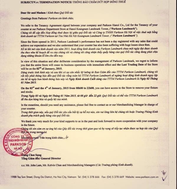 Thông báo của Công ty TNHH Parkson Hà Nội gửi cho các chủ hàng qua email ngày 2-1.