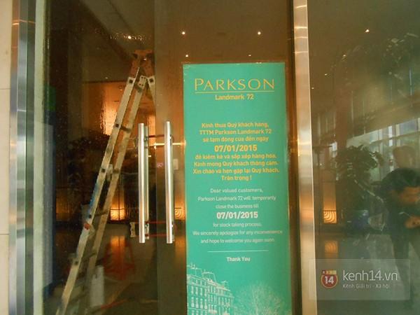 Trong thông báo trước đó, Parkson Keangnam cho biết sẽ mở cửa vào ngày 7/1/2015. Ảnh: Kênh 14.