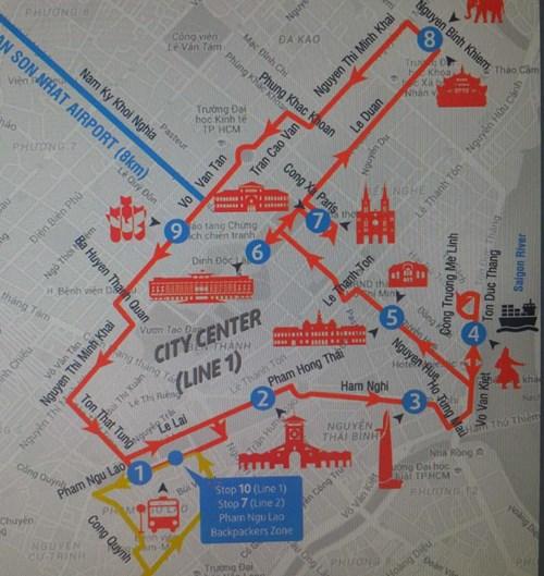 Bản đồ tuyến xe buýt Hop On - Hop Off city tour TP.HCM Ảnh: M.P