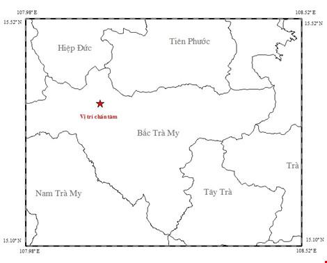 Vị trí tâm chấn trận động đất tại Bắc Trà My, Quảng Nam