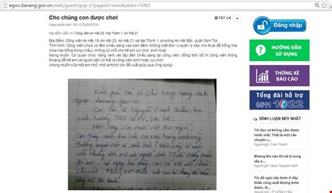 Góp ý của cậu học sinh cấp 2 đã được chính quyền Đà Nẵng xử lý ngay. Ảnh: TT