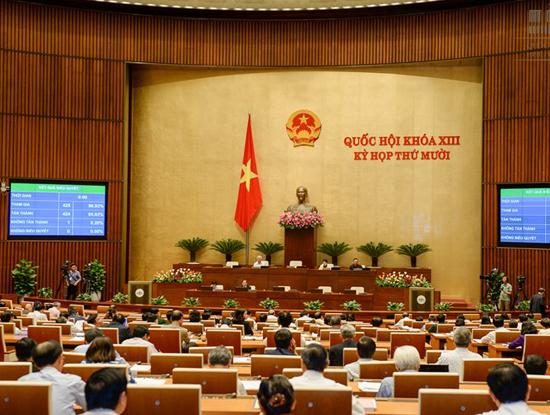 Kỳ họp thứ mười Quốc hội Khóa XIII đã thông qua dự án Luật An toàn thông tin mạng với 424/425 bỏ phiếu tán thành (Ảnh: quochoi.vn)
