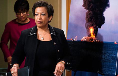 Bộ trưởng Tư pháp Mỹ Loretta E. Lynch tuyên bố mức phạt và bồi thường lên đến 20 tỉ USD đối với Tập đoàn BP. Ảnh: SHAWN THEW/EPA