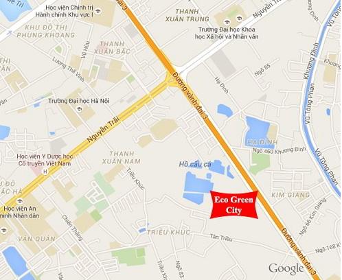 """Eco Green City tọa lạc ngay tại đường Vành đai 3, vị trí """"tam giác"""" giữa 3 quận Thanh Xuân – Hoàng Mai – Thanh Trì của thành phố Hà Nội."""