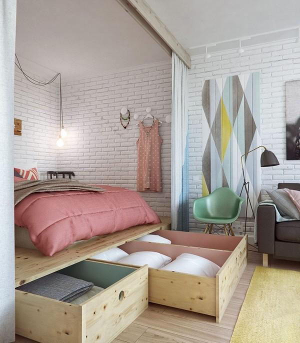 Những không gian như gầm giường, bàn... sẽ là vị trí lý tưởng để bạn sử dụng như một không gian lưu trữ.