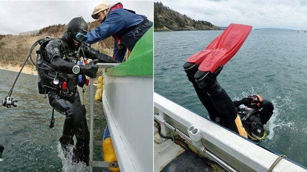 Masaaki và Yasuo lặn xuống nước (Ảnh: Getty Images)
