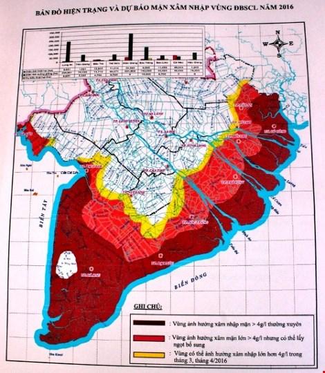 Bản đồ xâm mặn vùng ĐBSCL.