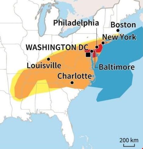 Khu vực miền Đông của Mỹ sẽ bị ảnh hưởng nặng nhất do trận bão tuyết. (Ảnh: AFP)