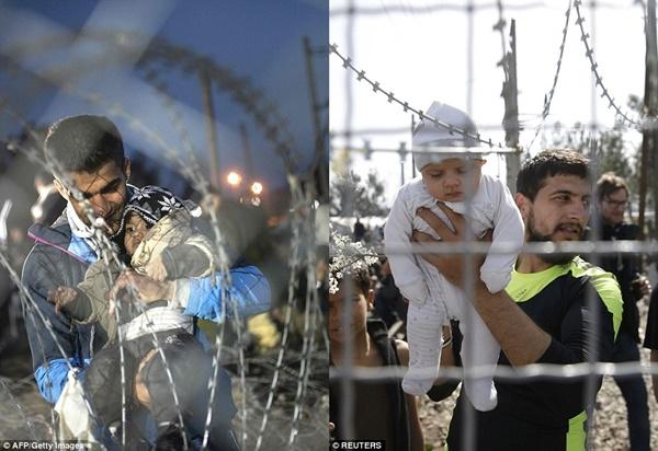 Hình ảnh các em bé phải đứng sau hàng rào không còn hiếm tại trại Idomeni.