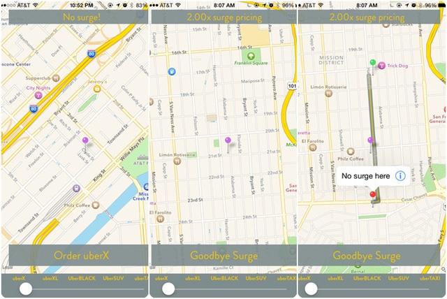 SurgeProtector sẽ gợi ý cho người dùng những khu vực đi Uber với giá gốc