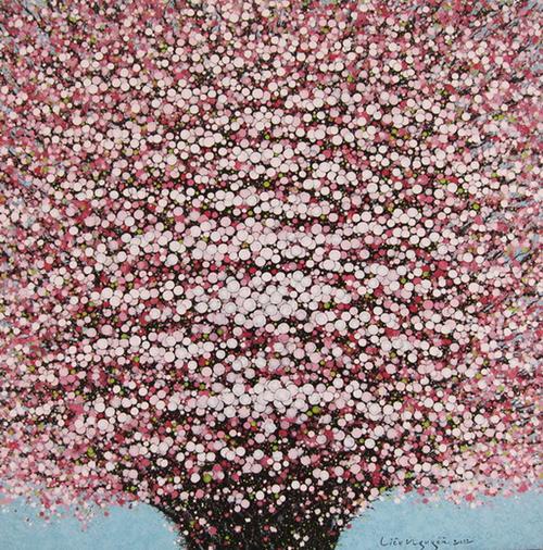 Tác phẩm Hoa anh đào (Acrylic trên vải) - Liêu Nguyễn.