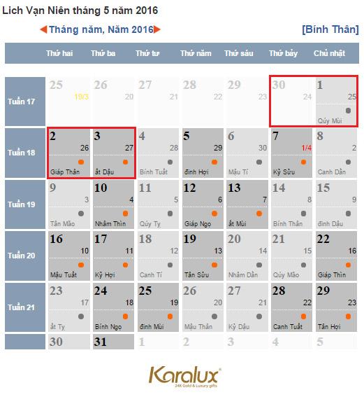 Lịch nghỉ lễ 30/4 và ngày 1/5/2016