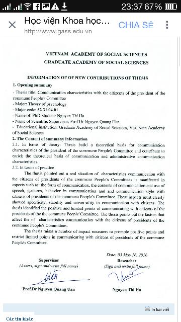 Bản tóm tắt tiếng Anh của luận án Đặc điểm giao tiếp với dân của chủ tịch xã được đăng trên webiste của Học viện Khoa học Xã hội