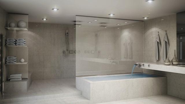 Không gian phòng tắm vô cùng rộng rãi và hiện đại