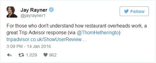 Bị khách chấm 1 sao trên TripAdvisor, và lời đáp trả của chủ quán đã khiến cộng đồng mạng phải tán thưởng - Ảnh 2.
