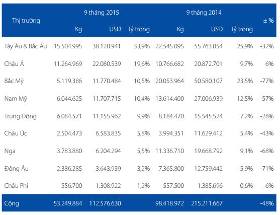 Giá trị xuất khẩu cá tra của HVG tại các thị trường.