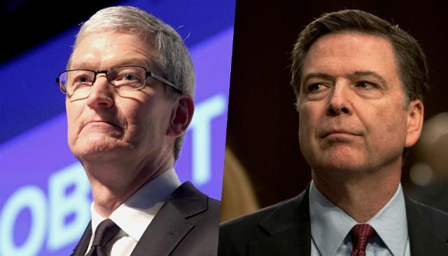 CEO Tim Cook và giám đốc FBI James Comey.