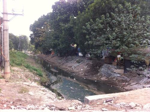 Một con kênh nước thải nhỏ ngay gần dự án