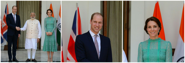 While William gritted his teeth, trying to grin and bear PM Modis deathclamp, Catherine stood blissfully unaware of the pain her husband was in just a few feet away.