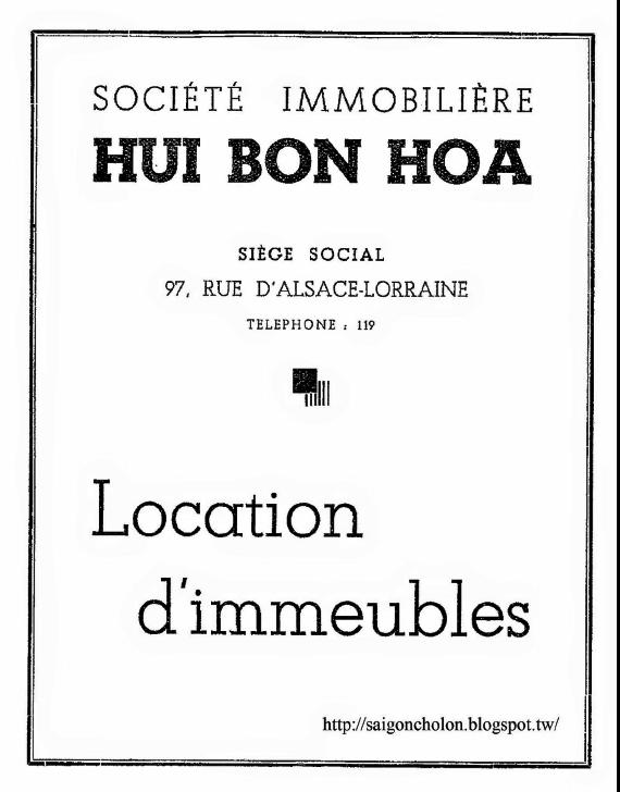 Brochure quảng cáo về Công ty địa ốc Hui Bon Hoa thời thuộc Pháp - Ảnh tư liệu