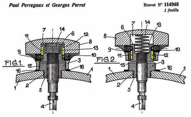 Bản thiết kế đầu tiên với ren xoắn và lò xo dành cho những chiếc đồng hồ không có hiển thị ngày và thứ.