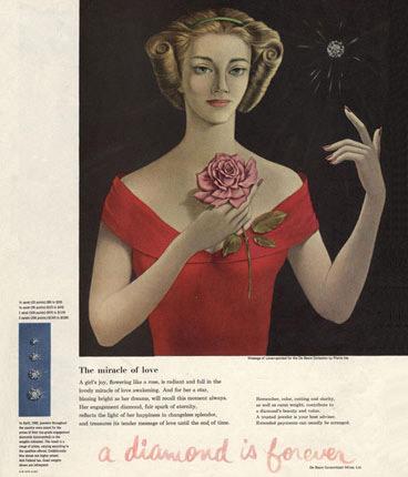 Một mẫu quảng cáo cổ điển của De Beers. Slogan A diamond is forever - Kim cương là mãi mãi.