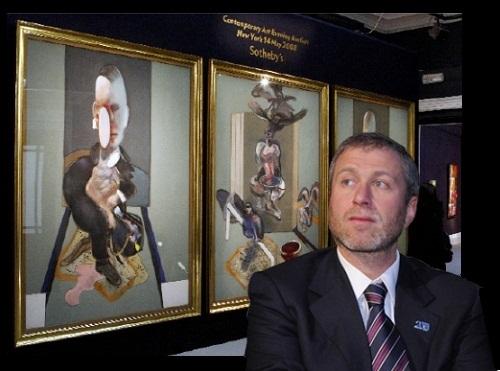 Tỷ phú người Nga Roman Abramovich bên bức tranh Francis Bacon được định giá 86.3 triệu USD vào năm 2008