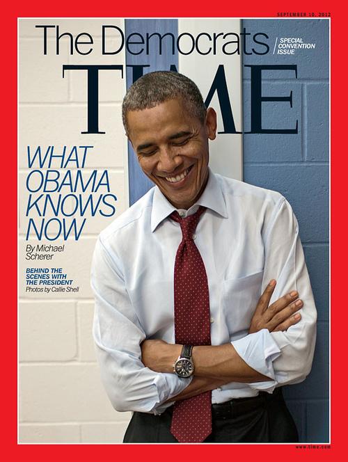 Bức ảnh chụp ông Obama trên bìa tạp chí Time với kiểu cà vạt hơi trễ như một ẩn ý về người đàn ông của công việc!