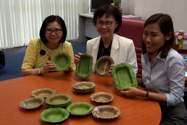 Các thành viên của nhóm nghiên cứu Đại học Naresuan chụp ảnh bên những chiếc bát đựng thức ăn không thấm nước từ lá cây với đủ kiểu dáng khác nhau do chính họ sáng tạo ra (Ảnh: Chinnawat Singha).