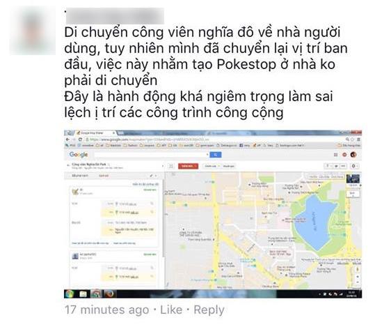 Theo phản ánh, người dùng đã chuyển hẳn cả một công viên về khu vực mình sinh sống chỉ để bắt Pokemon.