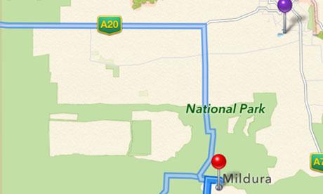 Khu vực Mildura tại Úc, với màu tím là địa điểm chính xác, màu đỏ là khu vực mà nhiều người đã lạc.