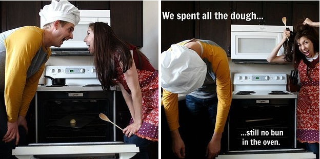 Cách thức thực hiện hài hước đã khiến những thông điệp mà cặp đôi muốn truyền tải được chia sẻ rất nhiều. Ví dụ như tấm hình này, Chúng tôi cho bột vào lò... thế nhưng sau đó bánh không hình thành.