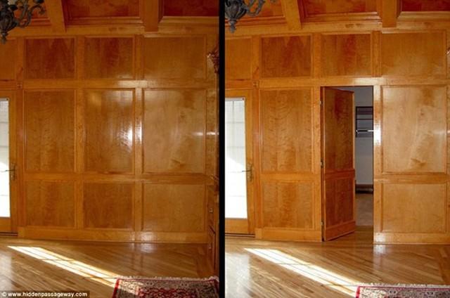 Bức tường gỗ này có thể mở ra một căn phòng khác.