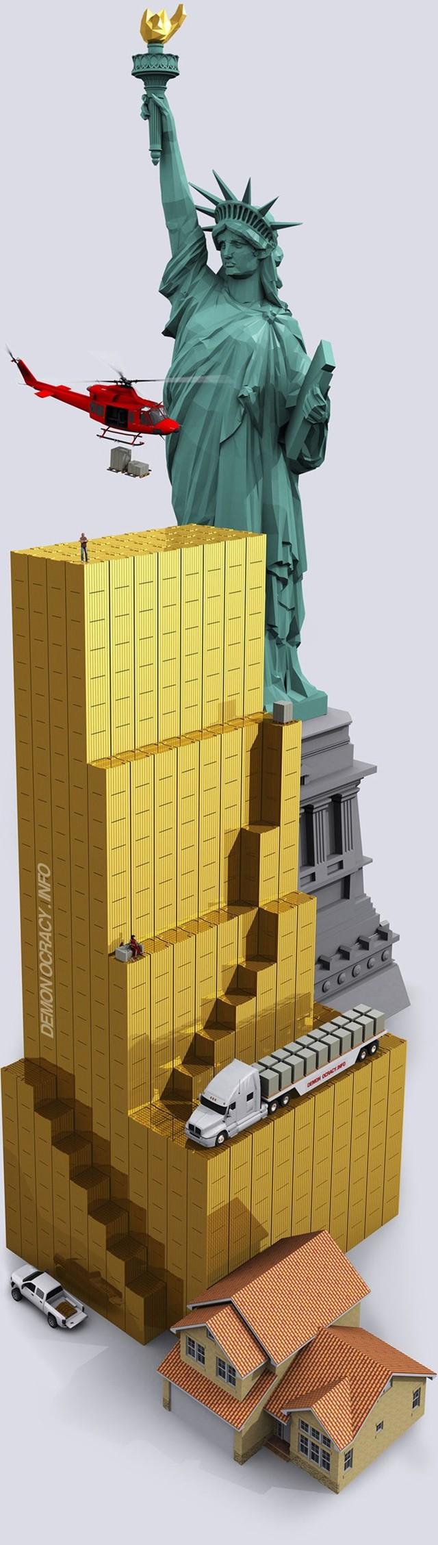 Đây là tất cả lượng vàng đã khai thác trong lịch sử xếp chồng lên nhau bằng các thanh vàng 400 ounce. Tổng cộng 166.500 tấn vàng ở đây được chia thành bốn cấp độ: cấp dưới cùng là đồ trang sức (chiếm 50,5% của tổng số vàng), cấp thứ 2 là đầu tư tư nhân (18,7%), cấp thứ ba là dự trữ của các chính phủ trên thế giới (17,4%), và mức trên cùng là vàng sử dụng trong công nghiệp (13,4%).