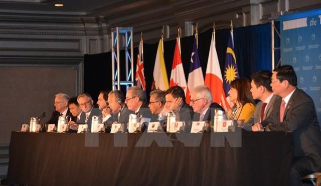 Bộ trưởng Thương mại các nước tham gia đàm phán TPP họp báo chung. (Nguồn: AFP/TTXVN)