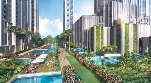 Một góc view vườn nước dưới chân tòa tháp The Landmark 81 tầng