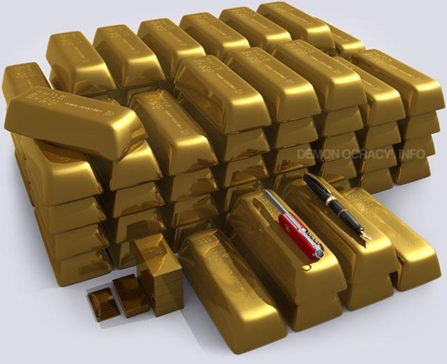 Một tấn vàng xếp cạnh nhau sẽ trông như thế này. Với 2.000/ounce, một tấn vàng sẽ có giá trị tương đương 64,3 triệu USD.