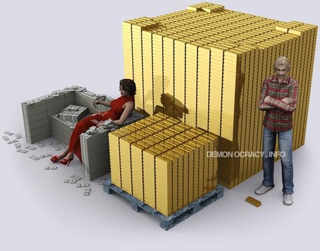 10 tấn vàng trông sẽ như thế này so với 100 tấn vàng.