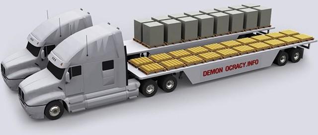 Theo quy định của luật pháp Mỹ, một chiếc xe bán tải chỉ được chở tối đa số vàng như trong hình. Cụ thể, lượng vàng tối đa một chiếc xe bán tải được chở là 25 tấn. Trong hình là 24,88 tấn vàng, tương đương 1,6 tỷ USD.