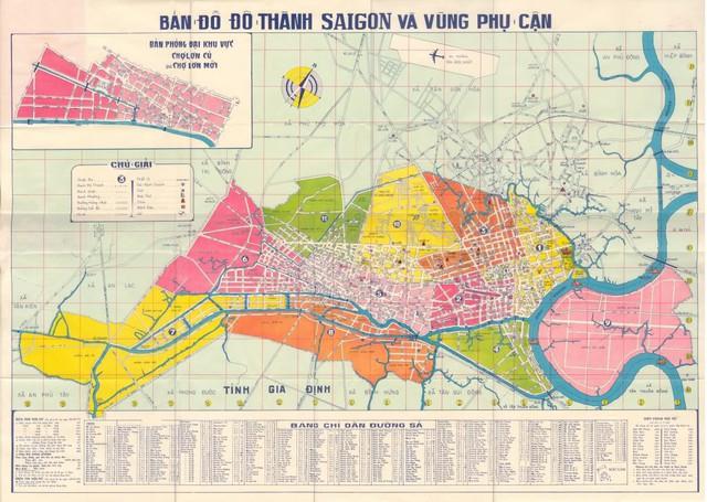 Bản đồ trung tâm TPHCM và vùng phụ cận trước năm 1975
